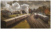 Might make a nice Jigsaw. (Ian Emerson) Tags: steam diesel carriages smoke autumn dmu loughborough gcr november 50mm railway tracks junction outdoor clouds departure omot