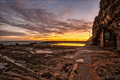 In my game (JustAddVignette) Tags: whalebeach australia dawn early firstlight headland landscapes newsouthwales northernbeaches ocean reflections rockpool rocks sea seascape seawater sky sunrise sydney water