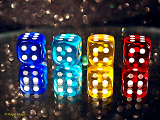 Games or Game Pieces: Dice game on a mirror