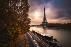 Seine river (modesrodriguez) Tags: paris europe france travel eiffel tower river sena clouds longexposure fuji street city
