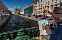 Painting in St. Pete (Packing-Light) Tags: russia ru stpetersburg whitenights culture churchonspilledblood cathedral architecture religion orthodox people day street painting art sanktpeterburg saintpetersburg