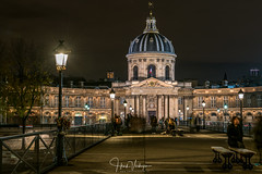 Institut de France from Pont des Arts, Paris - France (Henk Verheyen) Tags: parijs paris autumn city herfst stad pont des arts institut de france night avond avondennachtfotografie brug bridge gebouw building donker dark
