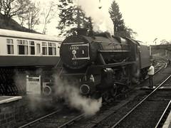 Goathland conversation (feroequineologist) Tags: 44806 black5 lms nymr northyorkshiremoorsrailway goathland railway train steam