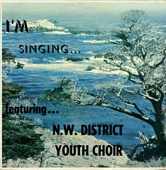 I'm Singing... (Jim Ed Blanchard) Tags: lp album record vintage cover sleeve jacket vinyl weird funny strange kooky ugly thrift store novelty kitsch awkward god religion religious christian northwest district youth choir generic rugged coastline tree