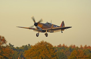 SPITFIRE MK356 RETURNING IN LATE AUTUMN SUNSHINE IN NEW COLOUR SCHEME
