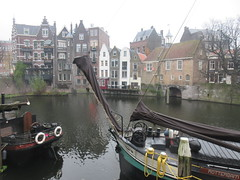 Boats and houses, upper end of harbor, Delfshaven, Rotterdam, Netherlands (Paul McClure DC) Tags: delfshaven rotterdam netherlands thenetherlands southholland zuidholland nov2017 architecture historic scenery