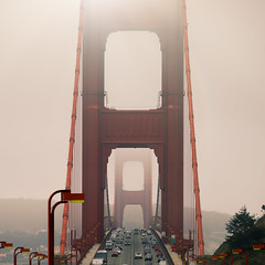 Karl & The Golden Gate Bridge (Darren LoPrinzi) Tags: canon canon5d 5d miii sanfrancisco sanfranciscoca ca california bay area bayarea bridge goldengate goldengatebridge square squareformat karl fog mist cars traffic symmetry westcoast northerncalifornia marin marincounty
