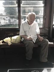 Estate in città (Aellevì) Tags: vecchio anziano dorme riposa stanco luglio tram caldo sonno spesa sacchetti solo