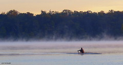 Into the Mist (Lois McNaught) Tags: mist fog scene lancscape hamilton ontario canada water lake kayak boat