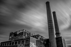 RUN (s.W.s.) Tags: neutraldensity longexposure blackandwhite montreal canada quebec building architectural architecture abandoned urban city factory plant bricks clouds