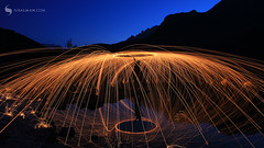 STEELWOOL (hisalman) Tags: hisalman steelwool boritlake hunza pakistan fire longexposure reflection mountains