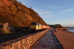 Charlotte and Stella (Teignstu) Tags: teignmouth devon seawall railway colas class67 67027 67023 testtrain sunrise sand sea