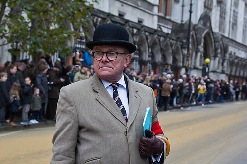Candid street portrait, Lord Mayor's Show, Royal Courts of Justice, London, 11 Nov 2017