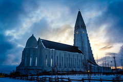 Hallgrimskirkja, the tallest building in the Iceland. (alexeysobolev1) Tags: iceland hallgrimskirkja cathedral church travel sunset sky reykjavik clouds planetphoto photography photo canon 550d