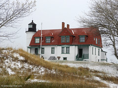 Winter Coat (JamesEyeViewPhotography) Tags: winter michigan point betsie lighthouse pointbetsie snow trees grass greatlakes northernmichigan november landscape lakemichigan water sky clouds nature jameseyeviewphotography