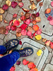 Change is Beautiful (BenitaMarquez) Tags: bayarea nature iphone6 usa california redwoodcity sidewalk ground colors vivid yellow orange red leaves autumn shoeporn hold purple bouncingsoles boots docmartens dms