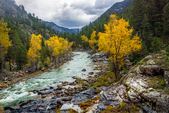Animas River valley - San Juan Nat. Forest, Colorado, USA 4 (Russell Scott Images) Tags: autumn fall colours animasrivervalley sanjuannationalforest heritage durangosilvertonnarrowgaugerailroad trainline colorado usa russellscottimages