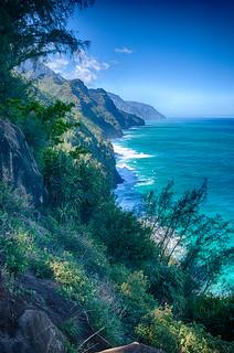 Viewpoint on the Kalalau trail, Kauai, 2017