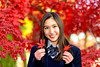 Beautiful Girl at Gotokuji (Dakiny) Tags: 2017 winter december japan tokyo setagayaward gotokuji city street temple gotokujitemple autumnleaves autumncolors maple red bokeh