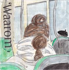 # 219 2017-12-05 (h e r m a n) Tags: herman illustratie tekening 10x10cm tegeltje drawing illustration karton carton cardboard kunst art back rug rucke ruggenfiguur ruckenfigur meisje girl bus ov openbaarvervoer