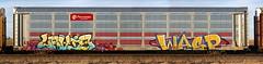 Levis/Wasp (quiet-silence) Tags: graffiti graff freight fr8 train railroad railcar art autorack levis wasp mfk syw ettx706395