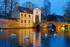 The bridge to the Béguinage, at the blue hour (Roland B43) Tags: béguinage brugge bruges belgium swan bluehour