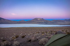 Initially we set up camp closer to the salar you see.  We were then warned by a guy at the nearby mine that they are mining for Borax so best to move our tent a bit further away. It made for a nice sunset.
