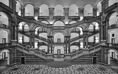 Justice (Arx Zyanos) Tags: sony sonya6500 a6500 ilce6500 munich münchen monochrom schwarzweis blackandwhite whiteandblack bw architecture indooor stair stairs treppe treppen treppenhaus staircase justizpalast samyang samyang1220 symmetry symmetrie justice f212mm hdr 500faves