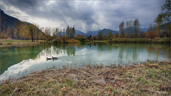 Rain coming. (valpil58) Tags: clouds reflection lake autumn colors landscape nikond800 afsnikkor1424mmf28ged friuli ultrawideanglelens