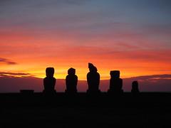 Easter Island sunset (Hammerhead27) Tags: ancient carved stone heads moai dark light chile carving statue sky orange sunset easterisland