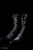 Combat Boot: Black on Black, Dramatic Texture View (Photographs by Shelly Fegter) Tags: advertising blackboots blackonblack combatboots leatherboots leathershoes lowkey productimages stilllife studiolighting