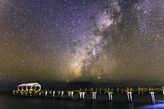 Starry Nights on the Pier (xirn32) Tags: waimeastaterecreationpier waimea kauai hawaii milkyway astrophotography nightsky longexposure beach