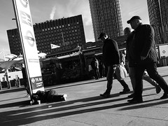 Sunday (Darryl Scot-Walker) Tags: streetphotographer streetphotgraphy londonphotographers londonstreetphotographer londonstreetphotography homelessness covertlondon blackandwhite monochrome pedestrians railwaystation publictransport urban city citylife bw candid men women shadows