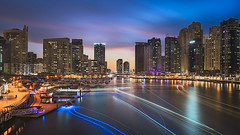 Rush Hour (Waheed Akhtar Photography) Tags: longexposure longexposurephotography longexposures dubai mydubai dubaimarina dubaiskyline dubaipics dubaiphotos dubaiart bluehour uae unitedarabemirates yatchclub buildings city cityscape architecture clouds sky sunset travel waheedakhtar