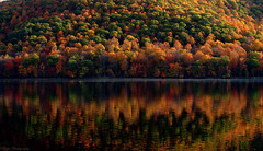 Welcome to Autumn  :) (Captions by Nica... (Fieger Photography)) Tags: reflections reflection water landscape lake nature outdoor forest fall mountain colorful colors autumn quebec canada serene