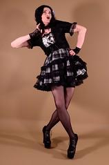 120H1L (klarissakrass) Tags: gothic lolita costume crossdress stockings heels pose gurl legfashion fashion tartan sexylegs
