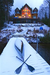 X marks the spot (deanspic) Tags: canoe paddle dock snow lakelouisa quebec 6d x