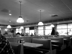 Mr. Burger (B&W) (neukomment) Tags: restaurant light bw windows indoors inside android samsung michigan usa tables booths lights
