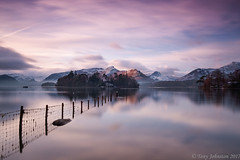 Crow Park Derwent Water (tony johnston Images) Tags: clouds crowpark cumbria derwentwater fence frost frosty lakedistrict lakeland mist mountains other places snow tonyjohnston water waterlandscape waterscape calm smooth light ngc
