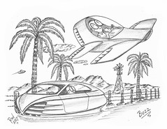 Buzz (rod1691) Tags: bw scifi grey concept custom car retro space hotrod drawing pencil h2 hb original story fantasy funny tale automotive art illistration greyscale moonpies sketch sexy