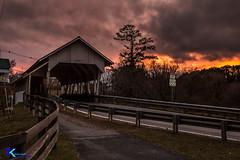 Covered Bridge at Sunset (Tim_NEK) Tags: sunset vermont coveredbridge road evening bridge