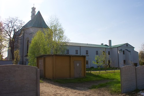 Kościół Niepokalanego Poczęcia NMP i klasztor bernardynów w Łęczycy od południowego wschodu