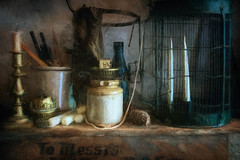 The light fitters workshop_Judge's Lodging (Sh4un65_Artistry) Tags: candles painteffect ironworkmetalwork industrial textured tools painterly topazimpression potteryandglass digitalart topaz tins digitalpainting topaztextureeffects artwork paintedphoto judgeslodging places stilllife