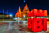 BIE (Jens Flachmann) Tags: bielefeld germany logo townhall night red stars moon bie e batis2818