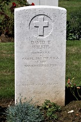 D.T. Wilkie, U.S. Army, 1918, War Grave, Trelincthun (PaulHP) Tags: cwgc world war graves headstones france terlincthun british cemetery wimille corp corporal dt david t wilkie service number 2261131 22nd november 1918 362nd infantry 91st div division us army united states america native glasgow military one ww1 grave headstone
