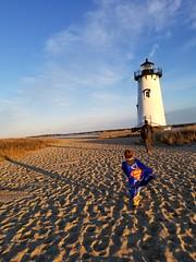 Long shadows (quinn.anya) Tags: sam preschooler superman superhero lighthouse sunset edgartown marthasvineyard water shadow andy