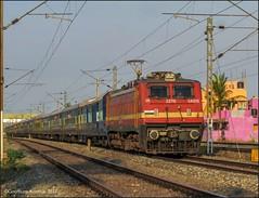 22207 Chennai-Trivandrum Super AC express.. (Gautham Karthik) Tags: train indianrailways chennai trivandrum ac acsuperfast express superac electriclocomotive wap4 red locomotive erode trainspotting railroad veppampattu