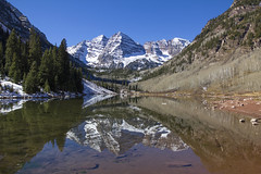 Maroon Bells (BDFri2012) Tags: maroonbells maroonpeak maroonlake lake mountains snow aspentrees aspen colorado forest bluesky water reflection reflections landscape outdoors outside