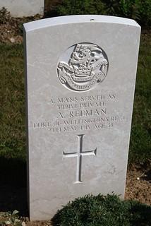 A. Redman AKA A. Mann, West Riding Regiment, 1915, War Grave, Le Treport
