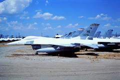 F-16A 78-0070/ HI ex 466FS/ 419FW AFRES, USAF. (AMARC code FG143) Stored, Davis-Monthan AFB/ AMARC, Tucson, Arizona. October 1995. (Aircraft throughout the years) Tags: f16a 780070 hi ex 466fs 419fw afres usaf amarc code fg143 stored davismonthan afb tucson arizona october 1995 scanned from dia